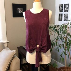 Tops - NEW Garment Dyed Burgundy M Tie Front Top Shirt T